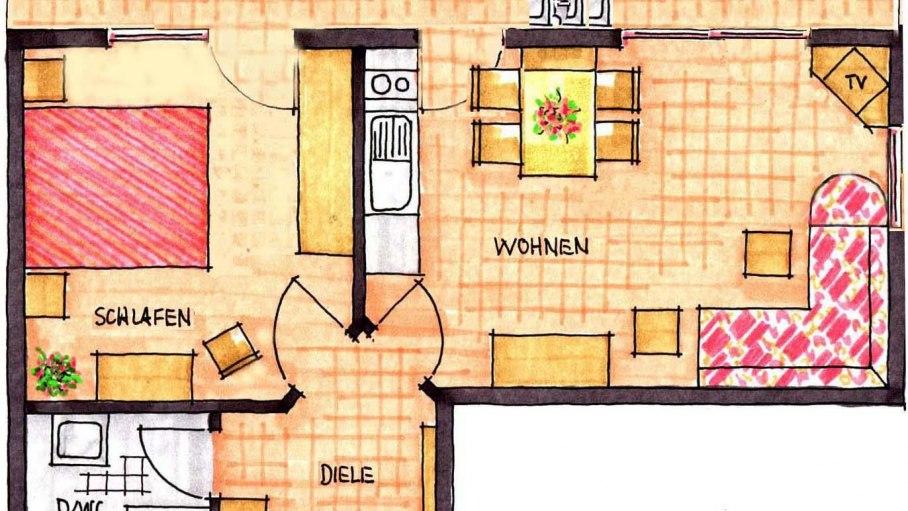 Grundriss Wohnung 3, © Ferienhaus Enzian - Fischen i. Allgäu
