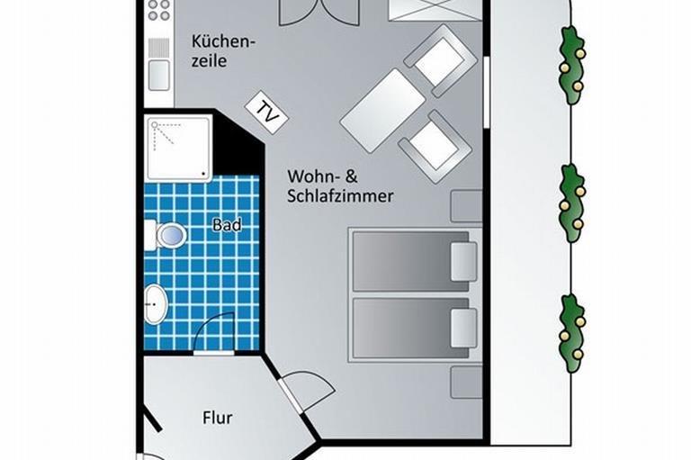 Doppelzimmer 9 - Grundriss, © Gästehaus Kanstein - Ofterschwang