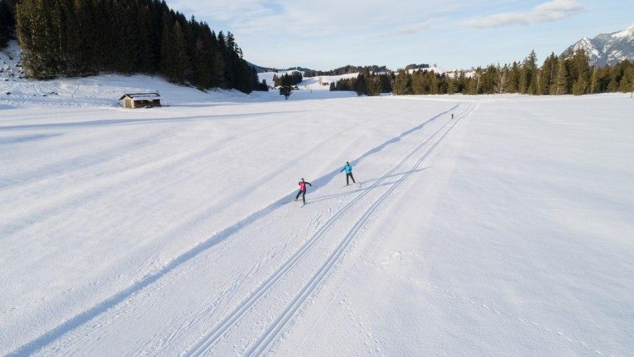 Traumhafte Landschaften beim Langlaufen auf der Sonnenalp Loipe - Ofterschwang, © Tourismus Hörnerdörfer / F. Kjer