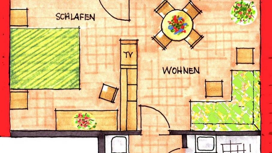 Grundriss Wohnung Nr. 6, © Ferienhaus Enzian - Fischen i. Allgäu