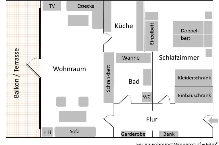 Ferienwohnung Wannenkopf - Grundriss, © Ferienwohnung Wannenkopf - Bolsterlang