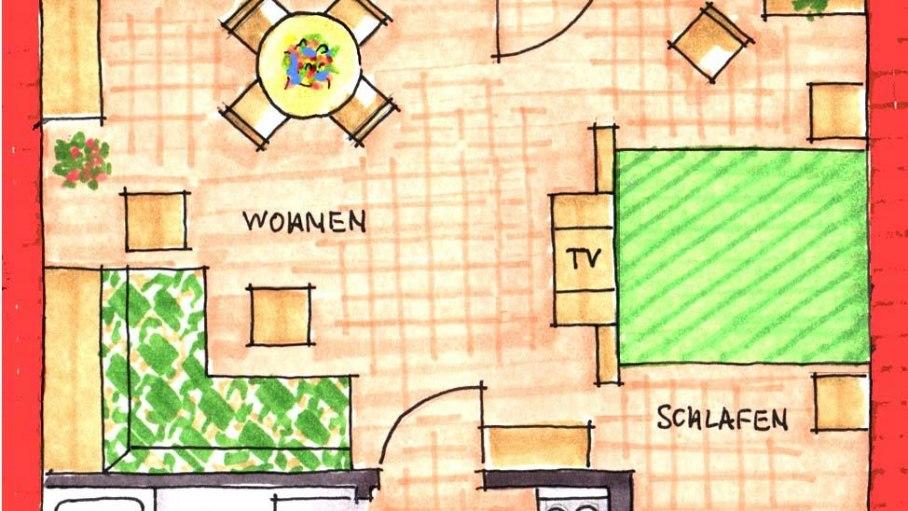 Grundriss der Ferienwohnung 5, © Ferienhaus Enzian - Fischen i. Allgäu