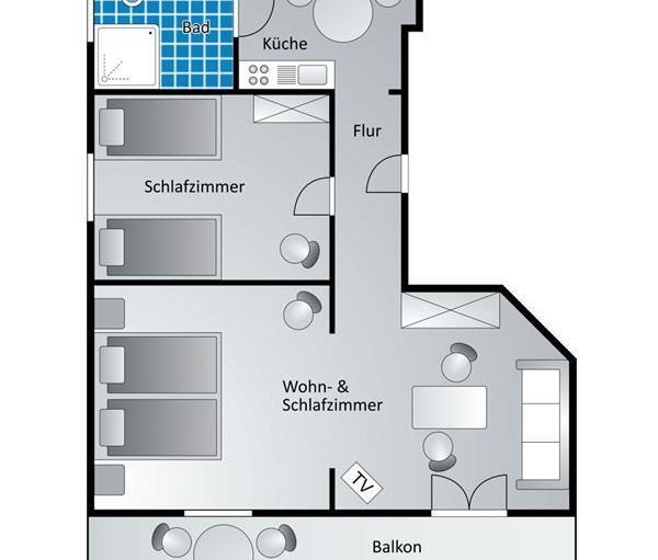 Appartement 10 - Grundriss, © Gästehaus Kanstein - Ofterschwang