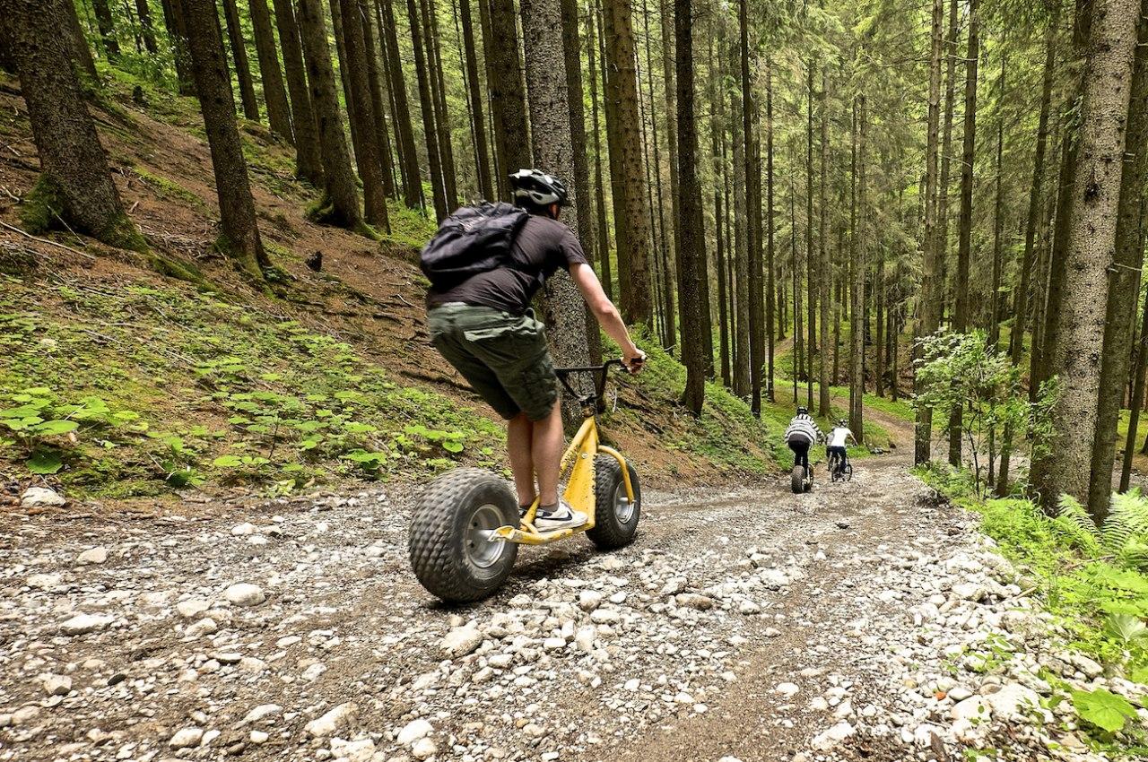 Freizeitspaß im Allgäu mit dem Downhill-Roller am Ofterschwanger Horn., © Tourismus Hörnerdörfer / ProVisionMedia