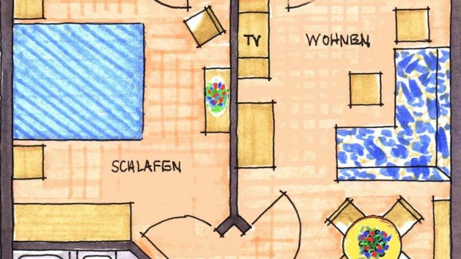 Grundriss Wohnung Nr. 2, © Ferienhaus Enzian - Fischen i. Allgäu